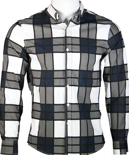 Long Sleeve Checkered Shirt (White) 1714