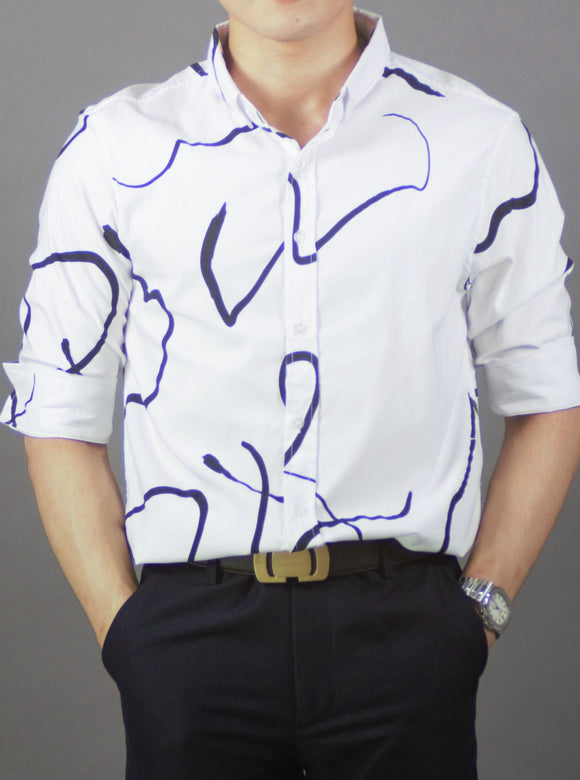 3/4 Sleeve Printed Shirt (White) 1715