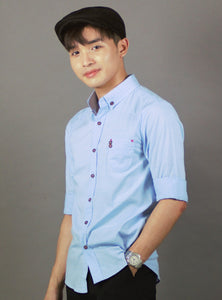 3/4 Sleeve Plain Casual Shirt (SKY) 1728