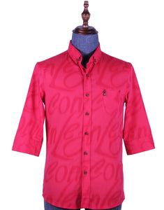 3/4 Sleeve Alphabet 'Watermark' Printed Shirt (RED) 1731