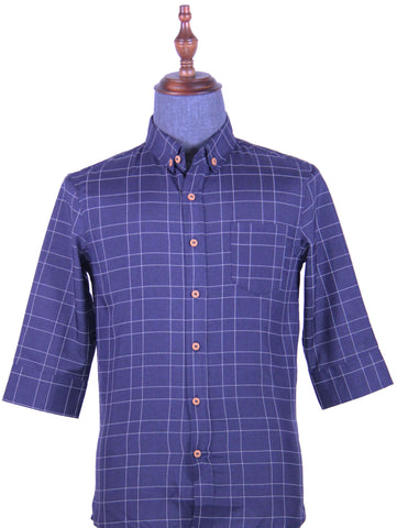 Checkered 3/4 Sleeve Shirt (Navy) 1738