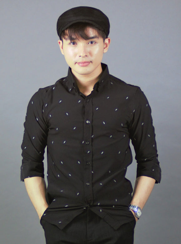 3/4 Sleeve Shirt (Black) 1747