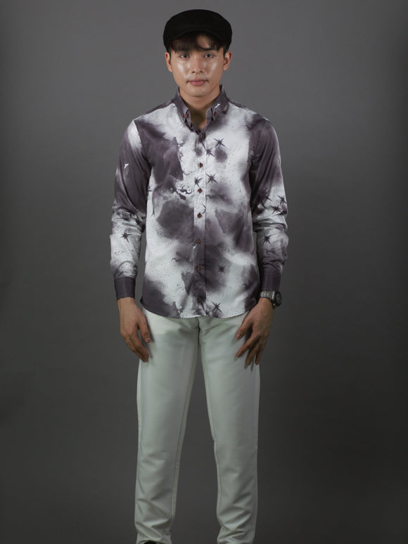Long Sleeve Designed Shirt (Grey) 1753