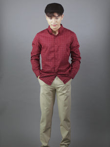 Long Sleeve Checkered Designed Shirt (Burgundy) 1755
