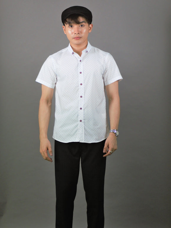 Short Sleeve Pattern Shirt (White) 1762