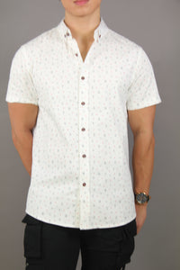 Short Sleeve Pattern Shirt (White) 1763