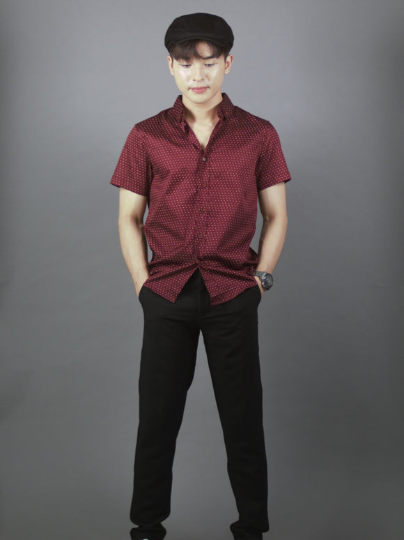 Short Sleeve Pattern Shirt (Burgundy) 1764