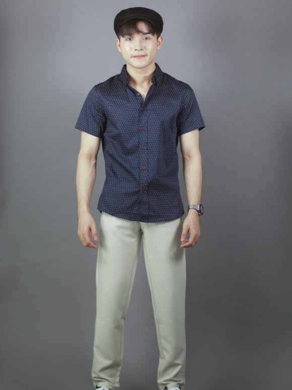 Short Sleeve Pattern Shirt (Navy) 1764