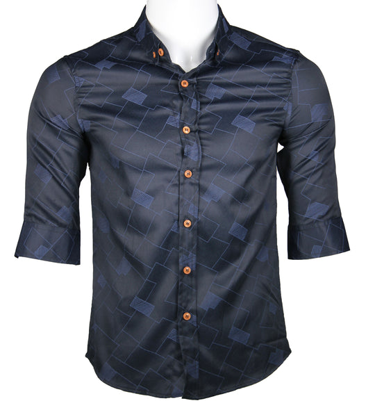 3/4 Sleeve Designed Shirt (Navy) 1767