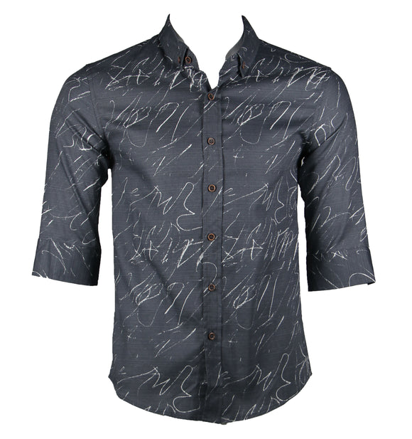 Patterned 3/4 Sleeve Shirt (Grey) 1772