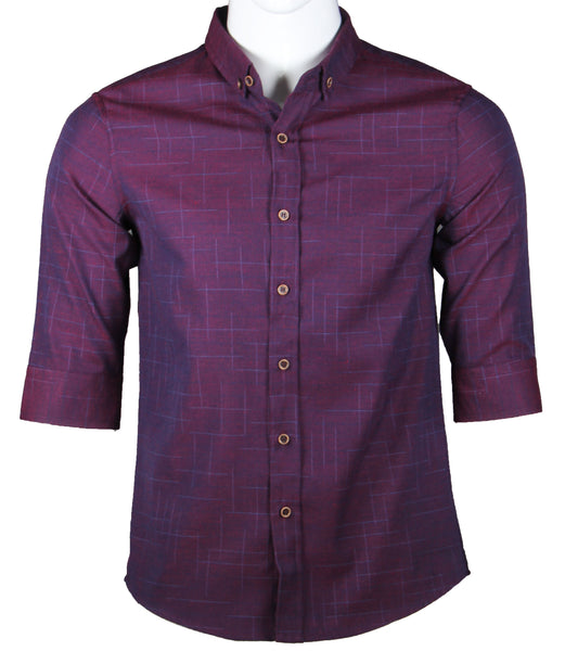3/4 Sleeve Designed Shirt (Burgundy) 1775