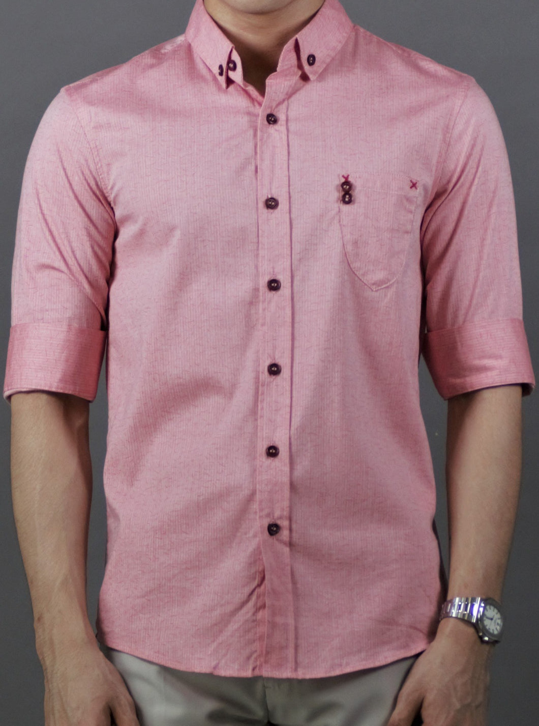 3/4 Simple design Shirt (Pink) 1779