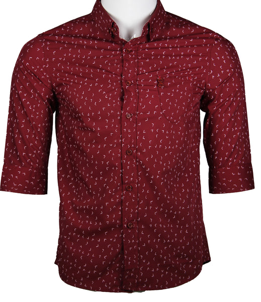 3/4 Sleeve  Printed Shirt (Burgundy) 1781