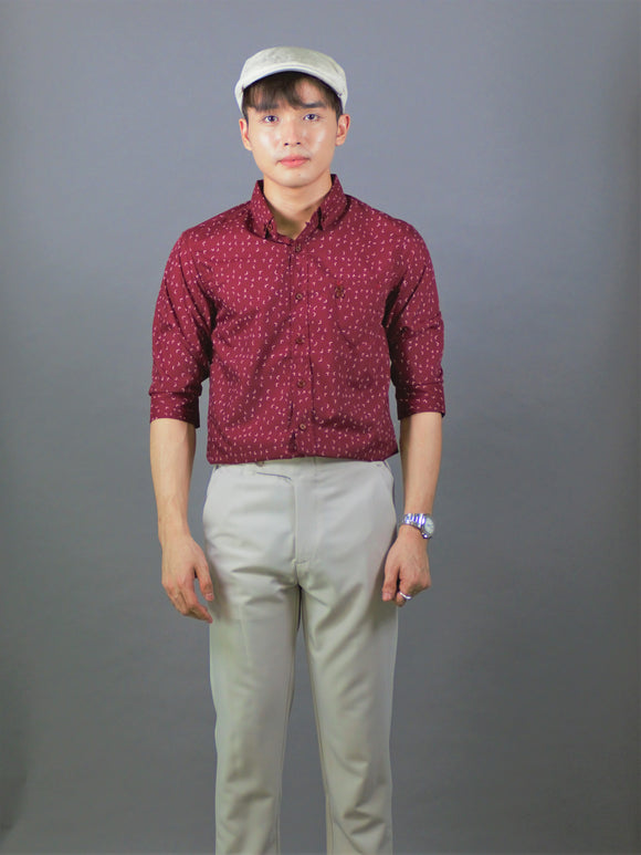 3/4 Sleeves Printed Shirt (Burgundy) 1781