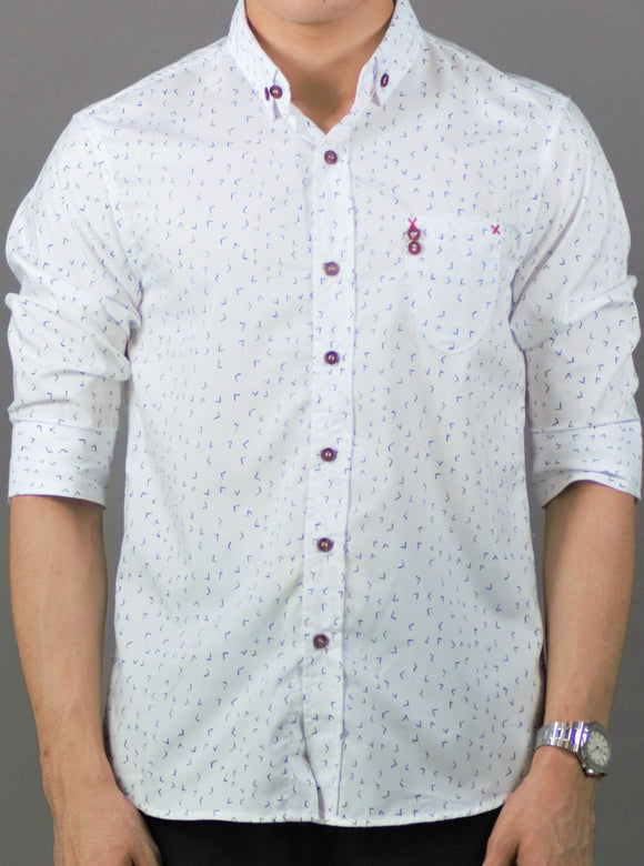 3/4 Sleeve  Printed Shirt (White) 1781