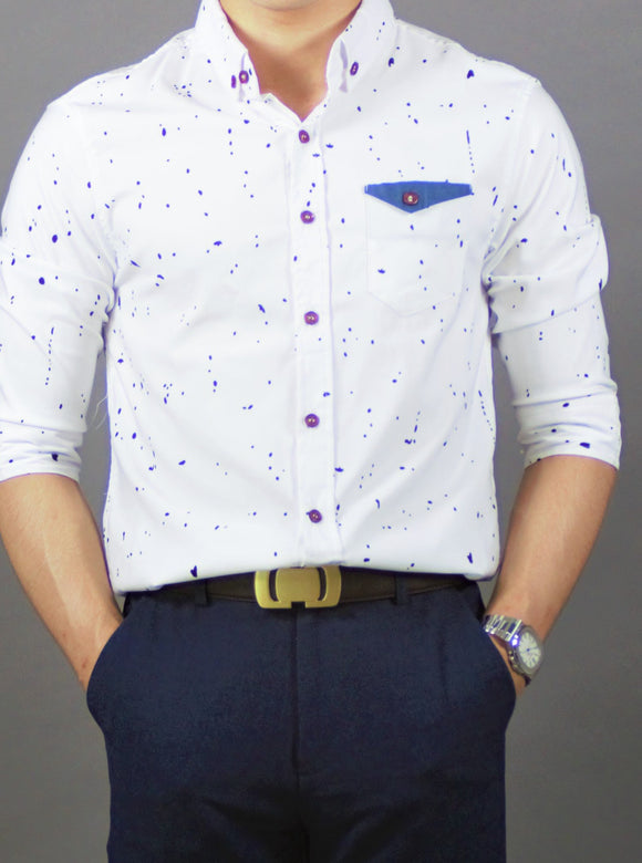3/4 Sleeve Printed Shirt (White) 1785