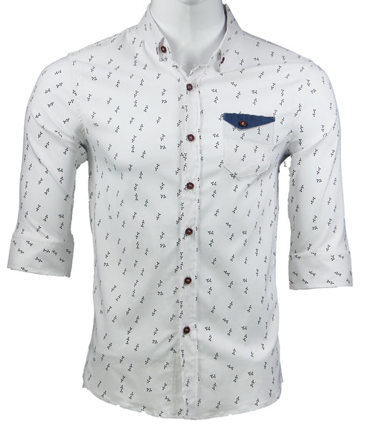 3/4 Sleeve  Printed Shirt (White) 1786