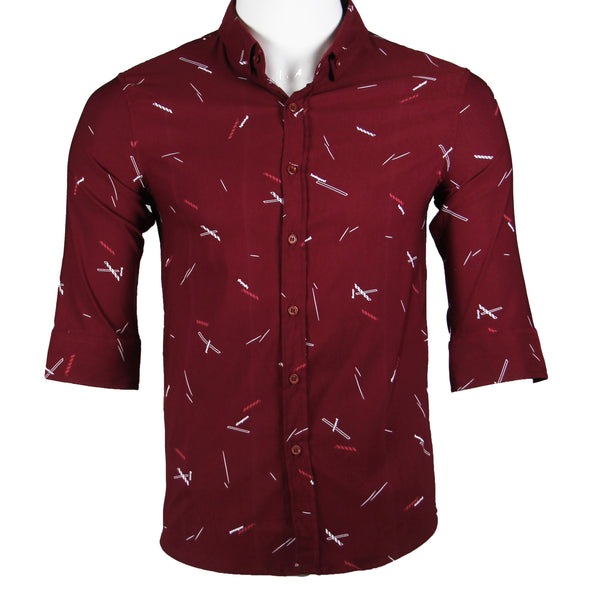 Patterned 3/4 Sleeve Shirt (Burgundy) 1790