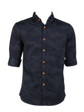 Load image into Gallery viewer, 3/4 Camouflage Designed Shirt (Navy) 1812