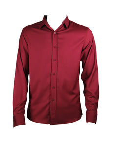 Long Sleeve Plain Classic Shirt (Burgundy) 1853