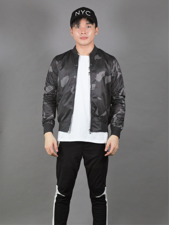 Printed Bomber Jacket (Black) 2295