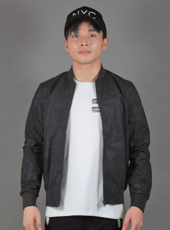 'Watermark Prints' Bomber Jacket (Charcoal) 2336