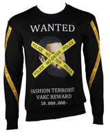 """WANTED"" Designed Pullover (Black) 2343"