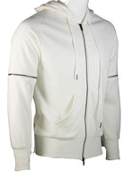 Plain Hoodie Jacket with Zip at sleeves (White) 2355