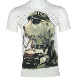 """POLICE DOG"" PRINTED T-Shirt (White) 2398"