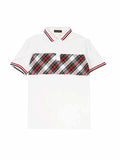 Simple Checks Designed Polo T-Shirt (White) 2550