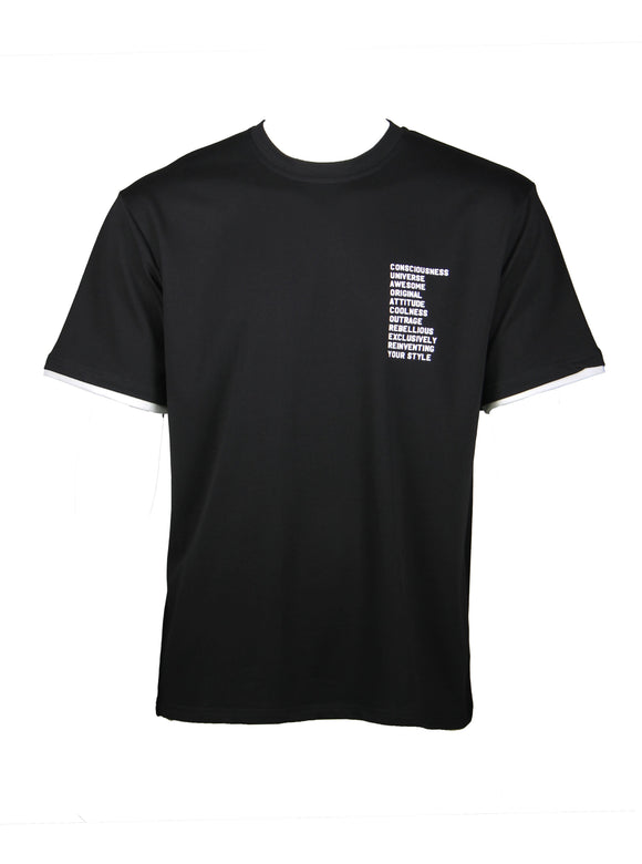 Simple Wording Oversized T-Shirt (Black) 2547
