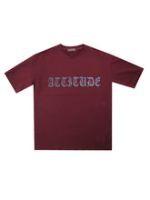 Load image into Gallery viewer, Attitude Oversized Reflective Tee (Burgundy) 2549