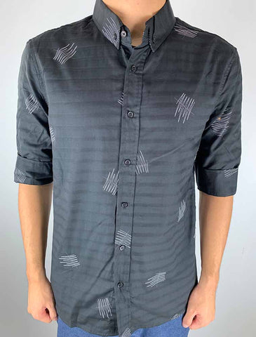 3/4 Sleeve Pattern Shirt (Black)