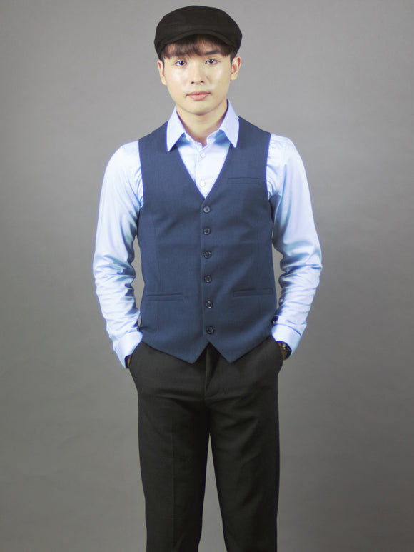 Formal Vests For Men Slim Fit (Blue) 4215