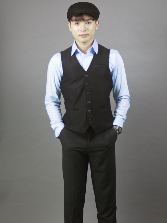 Formal Vests For Men Slim Fit (Black) 4216
