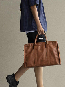 Faux leather holdall brown 4919