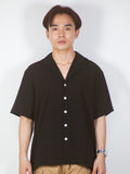 Camp Collar Short Sleeve Shirt (Black) 6258