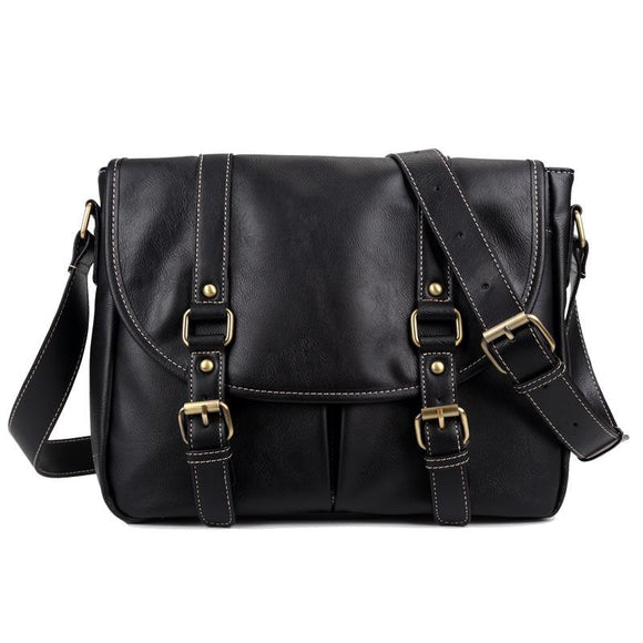Faux Leather Black Sling Bag 7705