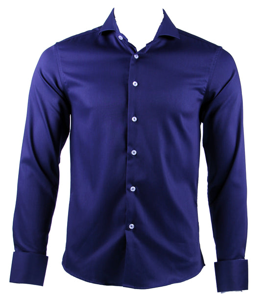Long Sleeve Plain Shirt (Navy) 6808