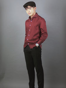 Long Sleeve Plain Shirt (Maroon) 6808