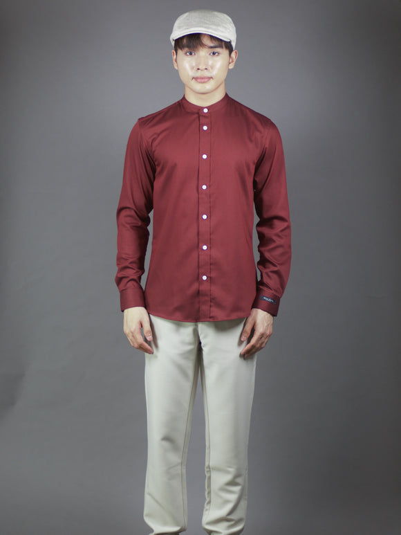 Mandarin collar Long Sleeve Plain Shirt (Maroon) 6809