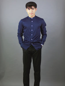 Mandarin collar Long Sleeve Plain Shirt (Navy) 6809