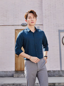 3/4 Sleeve Watermark Designed Casual Shirt (Navy) 1809