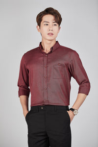 Textured Shirt (Burgundy) 1843