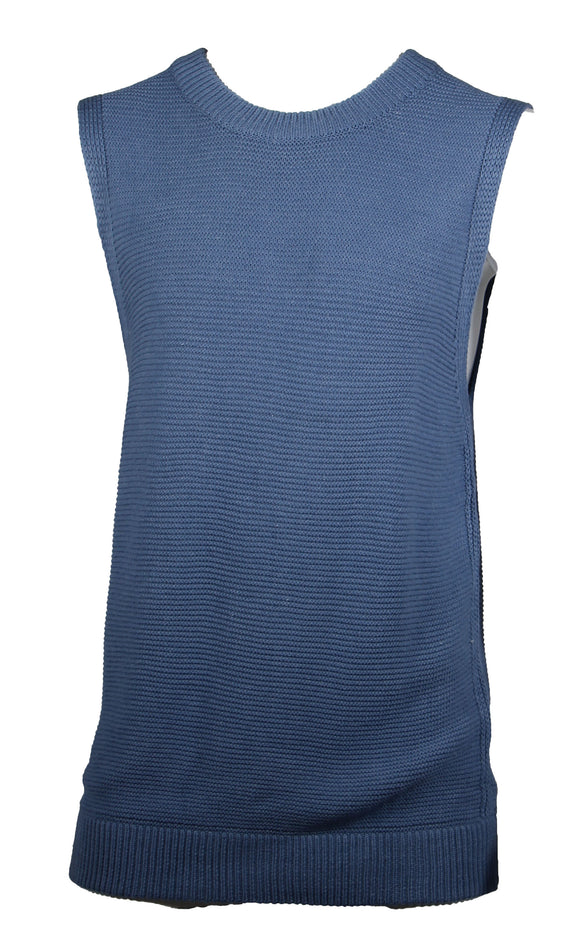 Men Sleeveless Sweater Vest Cotton Knitted (8005 Light Blue)