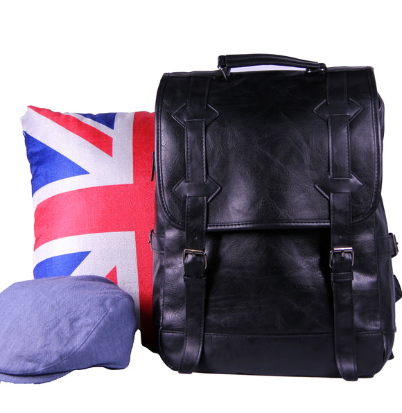 Black Faux Leather Backpack 8332