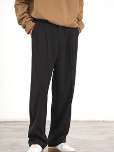 Straight Cut Loose Pants (Black) 9833