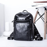 Black Faux Leather Backpack 9863