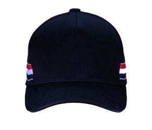 Unisex Baseball cap with 'red white blue strips' Black