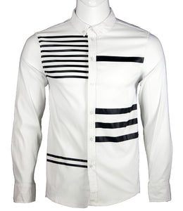 Striped Long Sleeve Shirt (White) 1641